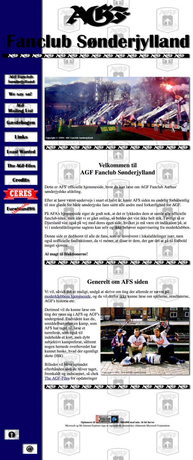 Forsiden for AGF Fanclub Sønderjylland i sin helhed